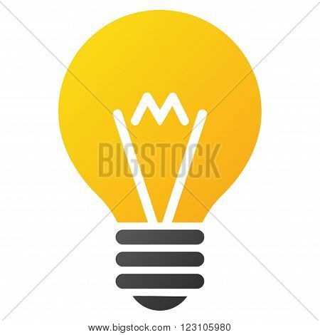 Hint Bulb vector toolbar icon. Style is gradient icon symbol on a white background.