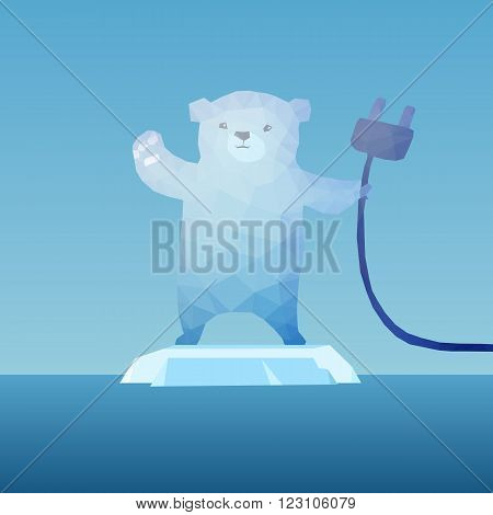 low poly Polar bear on the iceberg with plug great for environment concept