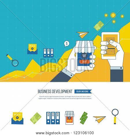 Flat design illustration concepts for business development and planning, teamwork, financial report and strategy. Business development vector. Investment business. Investment growth. Investment management.