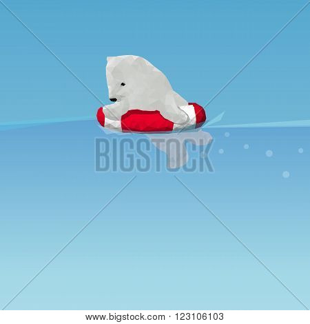 low poly Polar bear swimming by lifesaver in the ocean great for environment concept