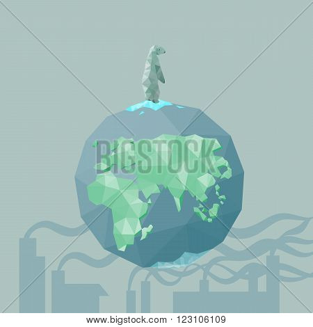 low poly Polar bear on the iceberg with earth and factory pollution great for environment concept