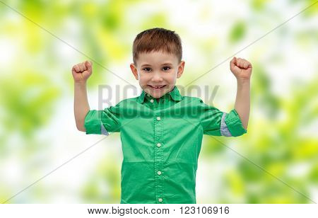 childhood, power, gesture and people concept - happy smiling little boy with raised hands showing his power over green natural background