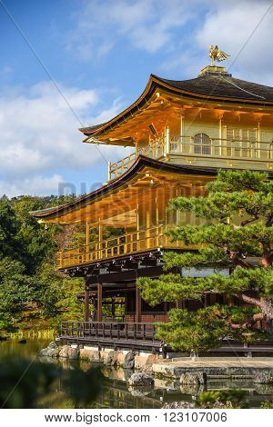 Kinkakuji Temple (The Golden Pavilion) and beautiful garden one of famous landmarks in Kyoto Japan