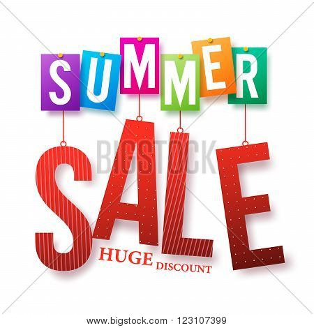 Summer Sale Colorful Text Hanging Isolated in White Background with Huge Discount for Summer Promotion. Vector Illustration