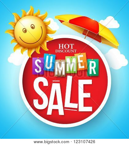 Summer Sale Hot Discount in Red Circle Floating with Umbrella and Happy Sun in the Cloudy Sky for Summer Promotion. Vector Illustration