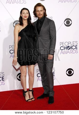 Sam Heughan and Caitriona Balfe at the 41st Annual People's Choice Awards held at the Nokia L.A. Live Theatre in Los Angeles on January 7, 2015.