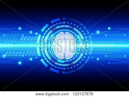 abstract technology communication with brain technology. illustration vector design
