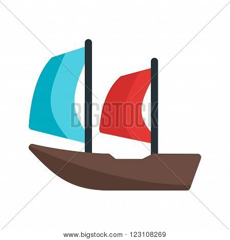 Sailboat beautiful icon vector image. Can also be used for sea. Suitable for use on web apps, mobile apps and print media.