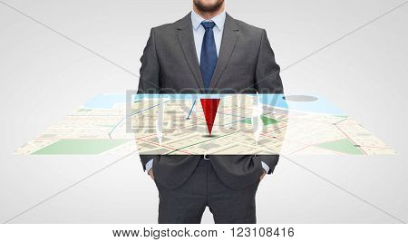 business and people concept - close up of businessman in suit with virtual gps navigator map