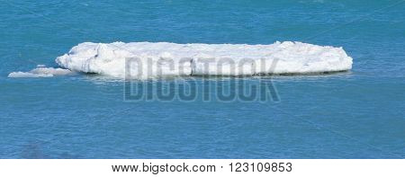 Melting Ice Floe in the icy waters of Lake Michigan