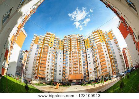 fisheye shot of new residential buildings