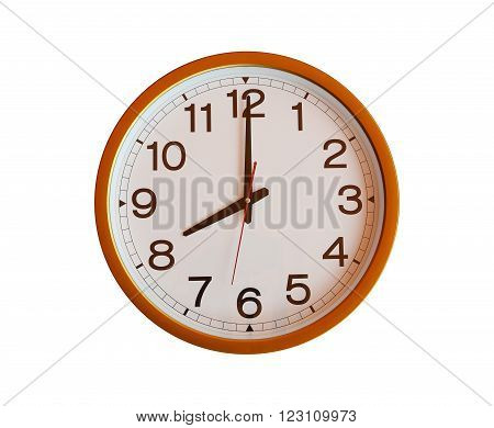 orange wall clock isolated in eight o'clock on white background.