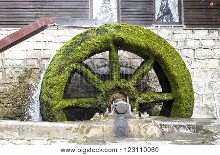 Old working mill wheel of watermill Bulgaria Europe