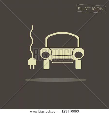 Flat electric car icon. Light car on dark background, vector