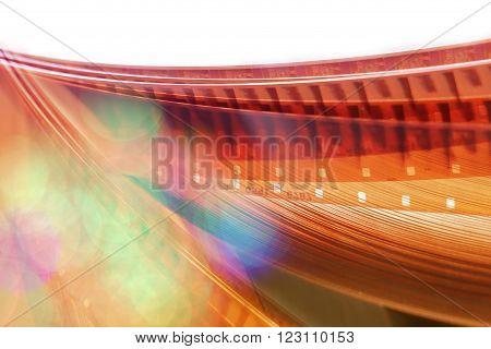 Film background, 16 mm. blurred motion film reel.
