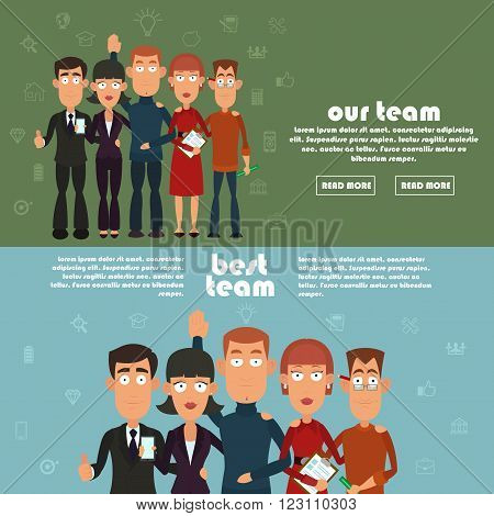 Teamwork and business team, our team business, office team, business success, work people, company and leadership, businessman and worker. two horizontal banner on the team. vector illustration.