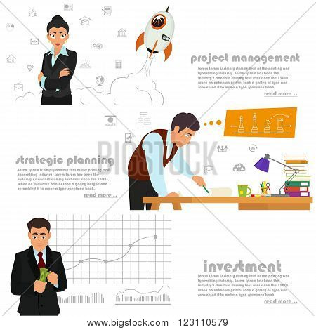horizontal banners on the theme: business, investment, start-up, management, start-up projects, strategy and planning. vector illustration.
