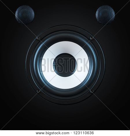 Black Woofer with two speakers and white circle