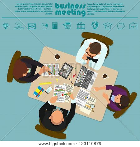 Group of business people working in office table. Business People Meeting Discussing Office Desk Businesspeople Working Flat Vector Illustration