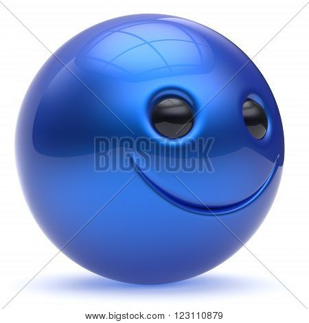 Smiling face blue head ball cheerful sphere emoticon cartoon smiley happy decoration cute. Smile funny joyful person laughing joy character toy cyan avatar. 3d render