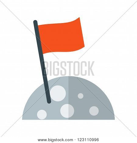 Moon, astronaut, flag icon vector image.Can also be used for astronomy. Suitable for use on web apps, mobile apps and print media.