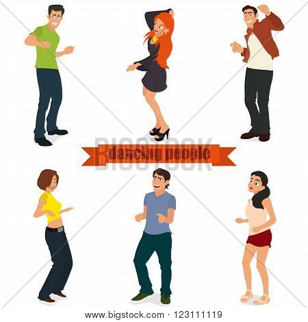 Young people on the party. isolated young people dancing modern dances. vector illustration.