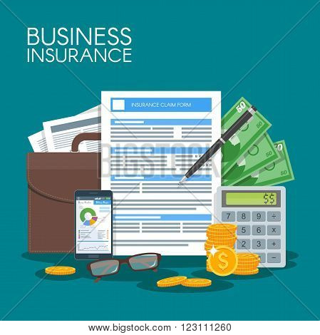 Business insurance concept vector illustration. Sign contract agreement to protect business from risks. Poster in flat style design.