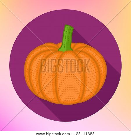 Pumpkin in flat icon style. Long shadow design vector illustration. Pumpkin in flat style. Pumpkin vector logo. Pumpkin icon. Pumpkin vector illustration. Flat design