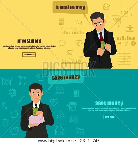 two banners on the theme of saving money and investments. vector illustration.