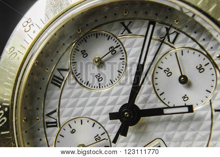 Analog Mechanical watch - Chronometer hand  close-up