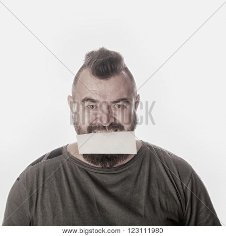 Portrait Of A Man With A Sign