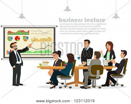 Modern business teacher giving lecture or presentation to a group of employees. Standing in front of whiteboard. Modern flat style vector illustration on white background.