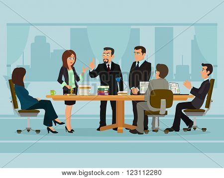 Business People Meeting Discussing Office Desk Businesspeople Working Flat Vector Illustration