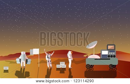 Astronauts on Mars concept vector illustration. Landing to red planet. Space scientists and rover. Mars landscape.