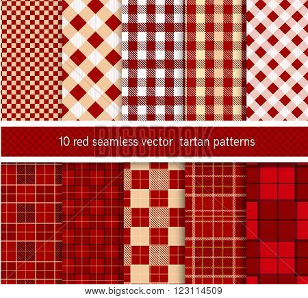 Textile red tartan  seamless plaid patterns collection . vector background set.