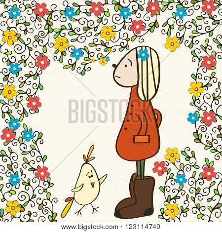 Early spring and a girl in felt brown boots in the garden. Cartoon illustration of chicken and girl smelling flowers.