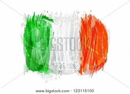 Flag of Italy made with colorful splashes isolated on white background. Imitatiom of watercolor. Italy background made with grunge smears and splashes.