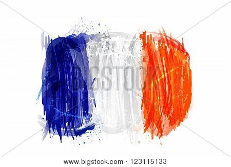Flag of France isolated on white background. isolated on white background. Imitation of watercolor. France background with grunge smears and splashes.