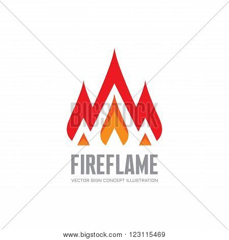 Fire flame - vector logo concept illustration. Abstract flame logo sign. Hot logo sign. Warm logo sign. Dangerous sign. Vector logo template. Design element.