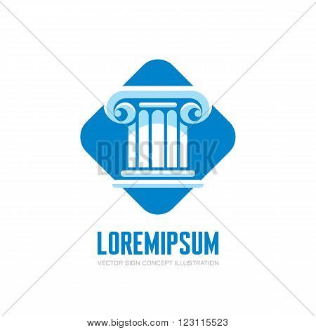 Architecture vector logo concept illustration. Law logo sign. Classic logo sign. Architecture element logo. Antique column abstract sign. Architectural order. Vector logo template. Design element.