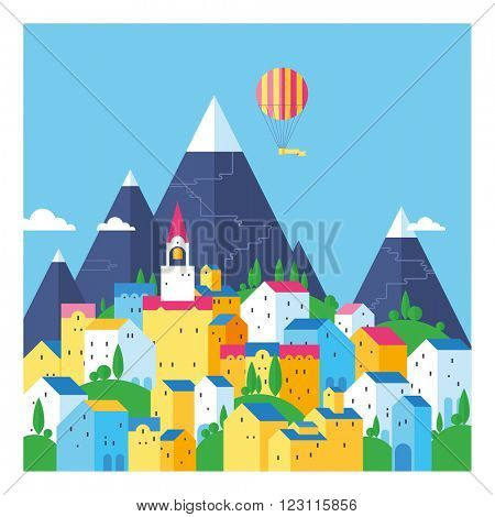 The town in the mountains. Bright old town. Colored houses. Colorful town at the foot of the mountains. Old European city. Flat design.