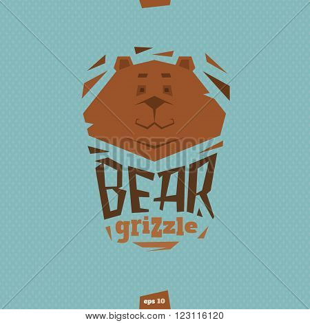Bear grizzle illustration in flat cartoon style
