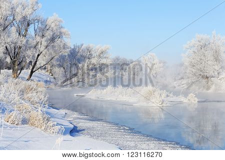 Fog Over Winter River