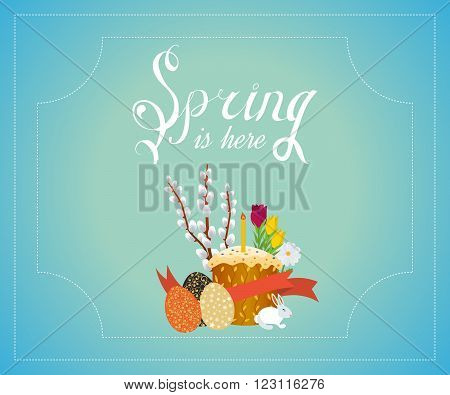 Spring vector typographic poster and logo. Happy Easter illustration with Eggs, Flowers. Spring greeting cards, Spring vector. Spring typography, spring is here, happy spring, spring time. Easter poster