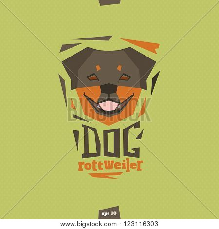 Rottweiler dog head illlustration. Happy pet. EPS 10