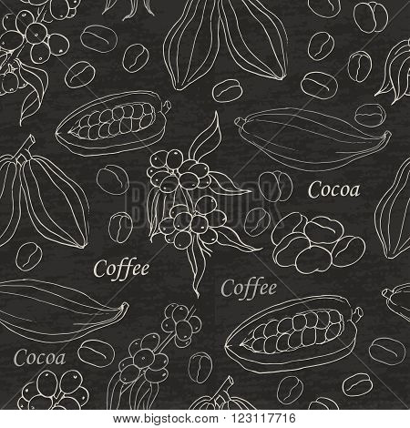 Seamless pattern with coffee and cocoa elements on black background. Vector  illustration for your design