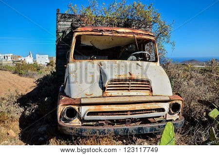 Rusty Abandoned Truck on the Desert, in Canary Islands, Spain