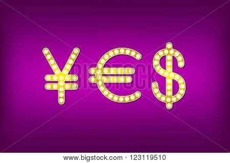 Yes In Form Money Symbol, 3D Vector Vintage