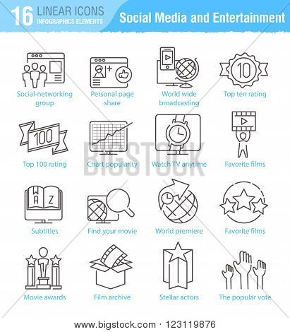 Miscellaneous social media and entertainment vector thin line icons set for TV infographics and mobile UX/UI