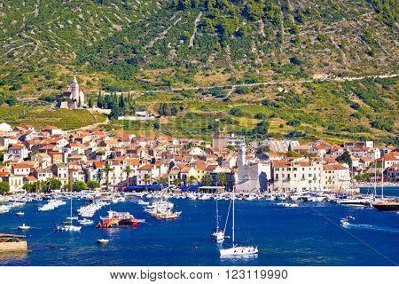 Coast of town Komiza on Vis island Dalmatia Croatia